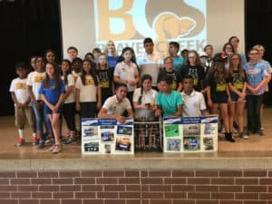 Team Honduras at Coy Middle School, Beavercreek, OH, with other robotics' teams